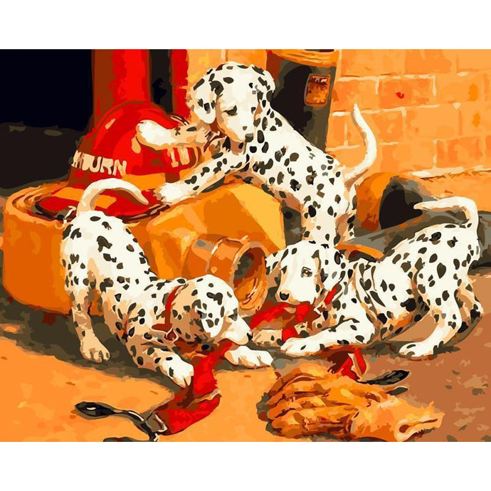 Dalmatian Litter Having Fun - Paint by Numbers Kit