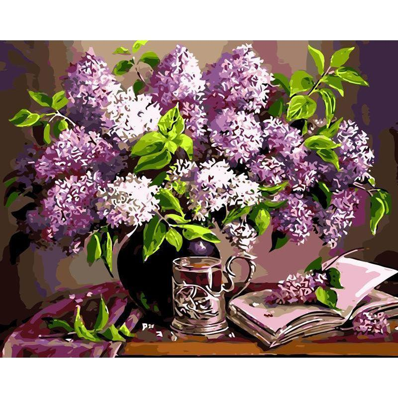 Deep Violet Flower Still Life - My Paint by Numbers