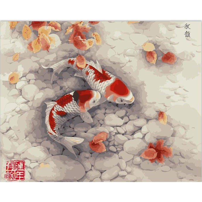 DIY Paint by Number kit for Adults on Canvas-Don't be Koi...Pond-40x50cm (16x20inches)