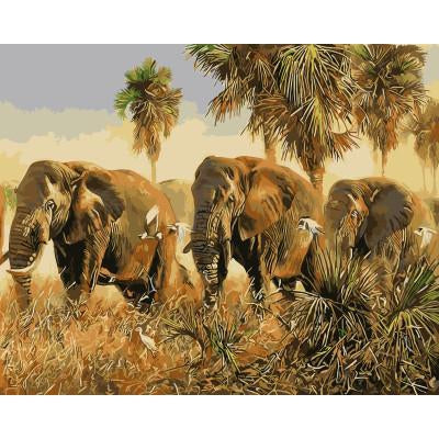 DIY Paint by Number kit for Adults on Canvas-Dumbo Elephant Herd-40x50cm (16x20inches)