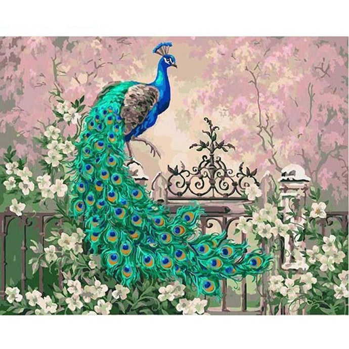 DIY Paint by Number kit for Adults on Canvas-Elegant Peacock-40x50cm (16x20inches)