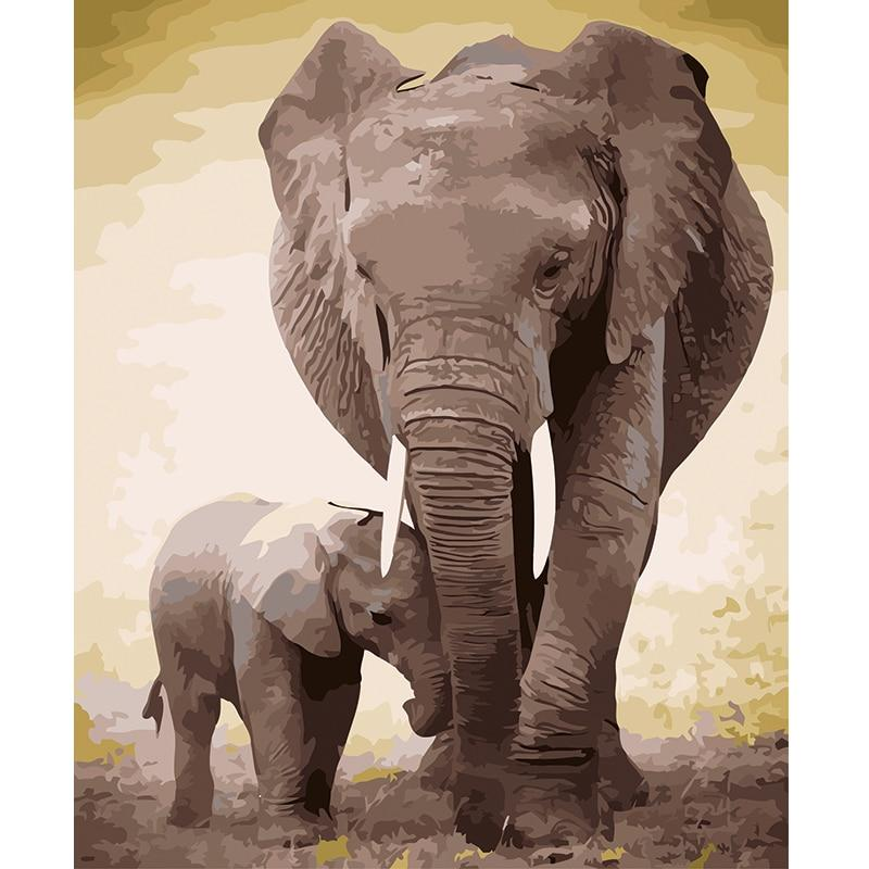 DIY Paint by Number kit for Adults on Canvas-Elephant Stroll-Painting & Calligraphy