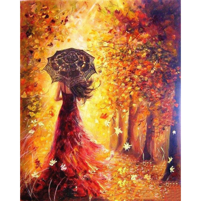 DIY Paint by Number kit for Adults on Canvas-Enchanted Autumn Stroll-40x50cm (16x20inches)