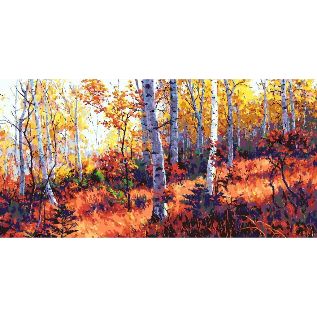 DIY Paint by Number kit for Adults on Canvas-Fall Birch Forrest [EXTRA Large Print]-50x100cm (20x40inches)
