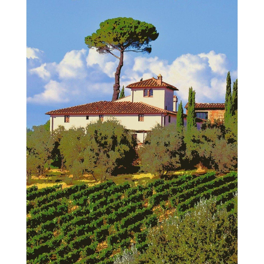 Fields in Tuscany Italy - Paint by Numbers Kit