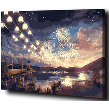 DIY Paint by Number kit for Adults on Canvas-Fireworks on Lake Luminous-40x50cm (16x20inches)