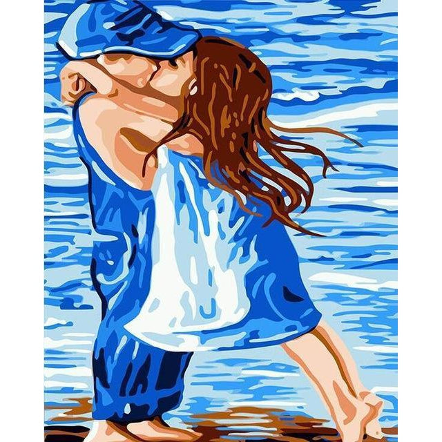 DIY Paint by Number kit for Adults on Canvas-First Kiss-40x50cm (16x20inches)