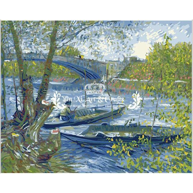 DIY Paint by Number kit for Adults on Canvas-Fishing in Spring - Van Gogh - 1887-Clean PBN