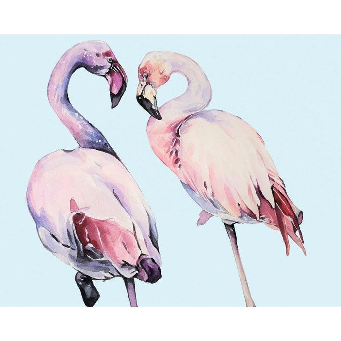 DIY Paint by Number kit for Adults on Canvas-Flamingo Friends-Clean PBN