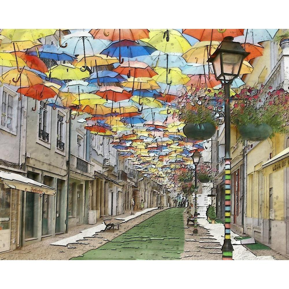 Floating Umbrella Street - Paint by Numbers Kit