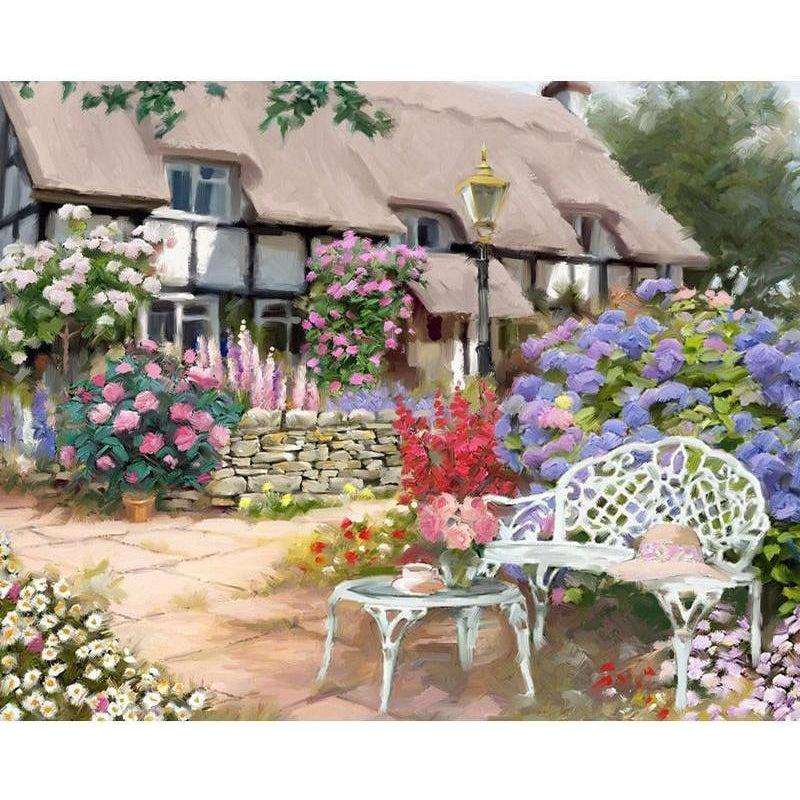 DIY Paint by Number kit for Adults on Canvas-Florist Cottage-40x50cm (16x20inches)