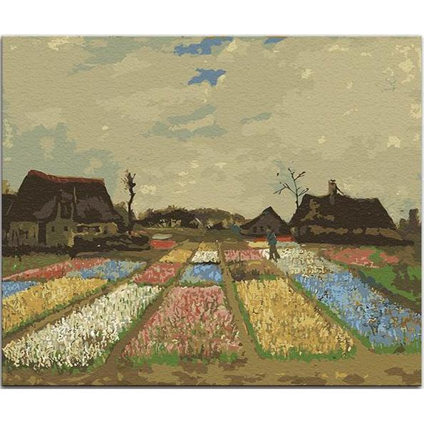 DIY Paint by Number kit for Adults on Canvas-Flower Beds in Holland - Van Gogh 1883-Clean PBN