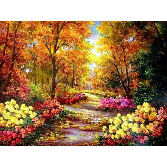 DIY Paint by Number kit for Adults on Canvas-Flower Clad Road-40x50cm (16x20inches)