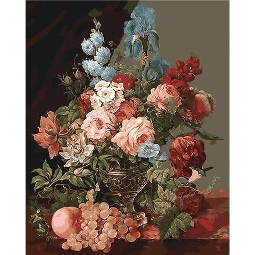 DIY Paint by Number kit for Adults on Canvas-Flowers in a Vase - Cornelis van Spaendonck-Clean PBN