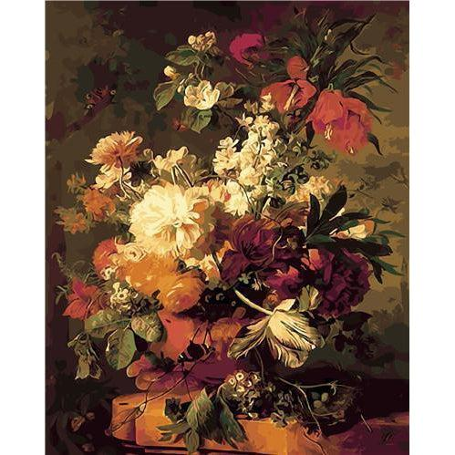 DIY Paint by Number kit for Adults on Canvas-Flowers in a Vase - Jan Van Huysum-Clean PBN