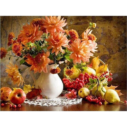 DIY Paint by Number kit for Adults on Canvas-Flowers in Vase Still Life [LIMITED PRINT]-40x50cm (16x20inches)