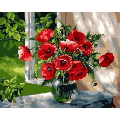 DIY Paint by Number kit for Adults on Canvas-Flowers On Windowsill-30x40cm (12x16inces)
