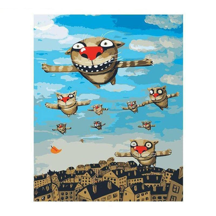 DIY Paint by Number kit for Adults on Canvas-Flying Cats-40x50cm (16x20inches)