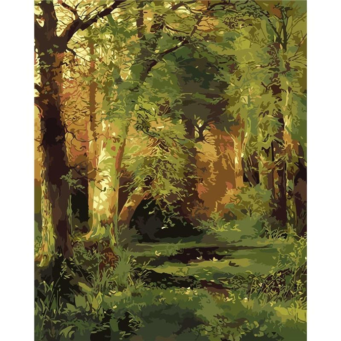 DIY Paint by Number kit for Adults on Canvas-Forest Scene - Thomas Moran-Clean PBN