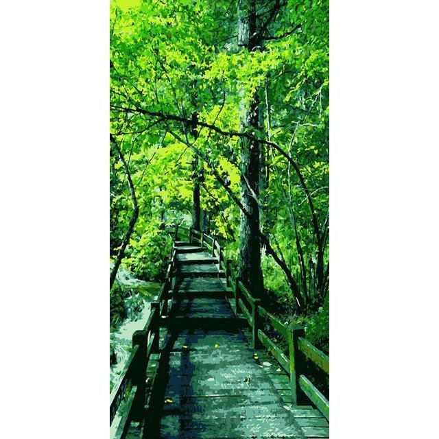DIY Paint by Number kit for Adults on Canvas-Forrest Bridge [EXTRA Large Print]-40x80cm (16x32inches)