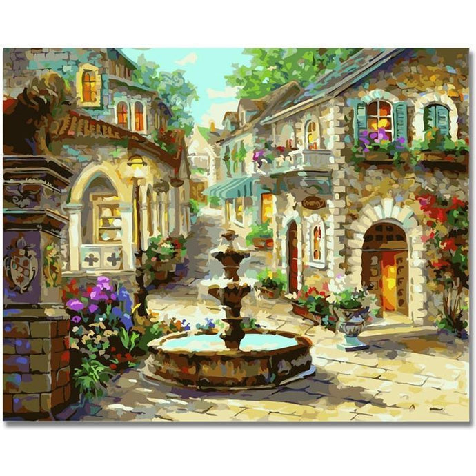 DIY Paint by Number kit for Adults on Canvas-Fountain in the Old Town-40x50cm (16x20inches)