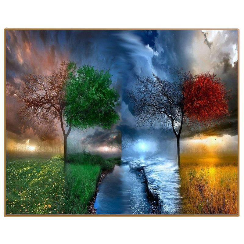 DIY Paint by Number kit for Adults on Canvas-Four Seasons-40x50cm (16x20inches)