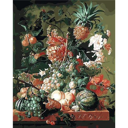 DIY Paint by Number kit for Adults on Canvas-Fruit and Flowers - Paulus Theodorus-Clean PBN
