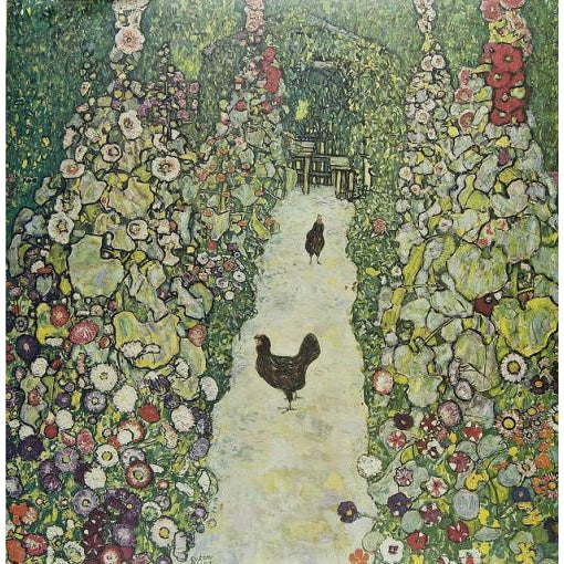 DIY Paint by Number kit for Adults on Canvas-Garden Path with Chickens - Gustav Klimt - [The Lost Art Project] - 1917-Clean PBN