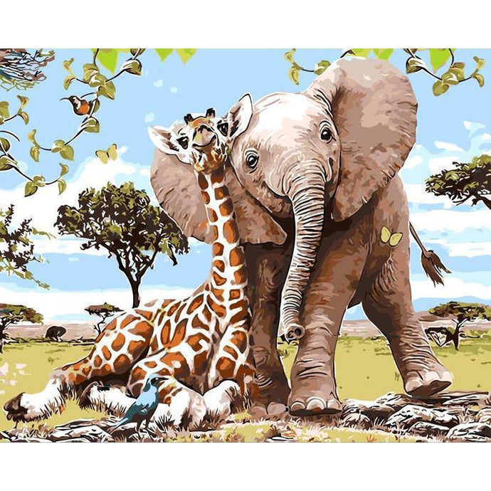 DIY Paint by Number kit for Adults on Canvas-Giraffe Elephant Safari Friends-40x50cm (16x20inches)