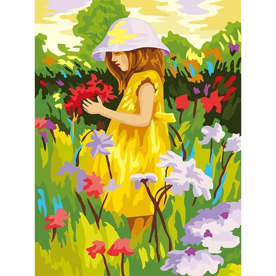 DIY Paint by Number kit for Adults on Canvas-Girl in the Garden-