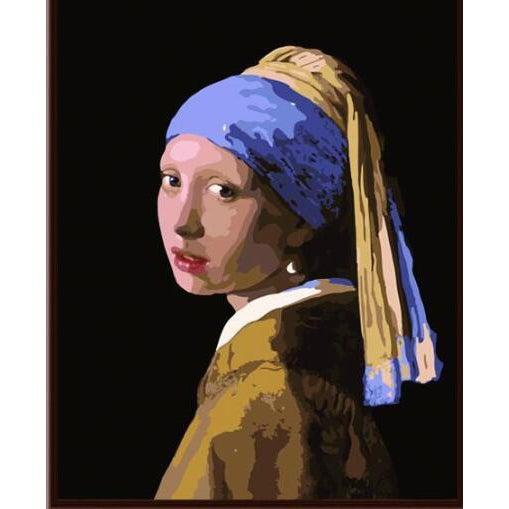 DIY Paint by Number kit for Adults on Canvas-Girl with a Pearl Earring - Johannes Vermeer-Clean PBN