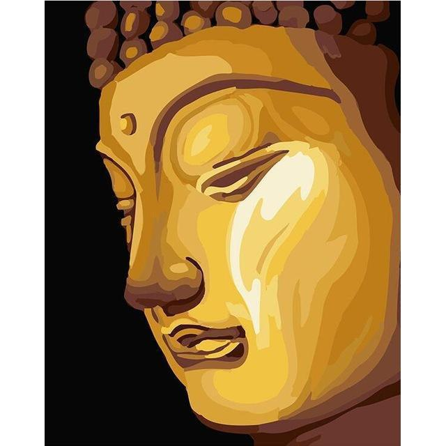 DIY Paint by Number kit for Adults on Canvas-Golden Buddha-40x50cm (16x20inches)