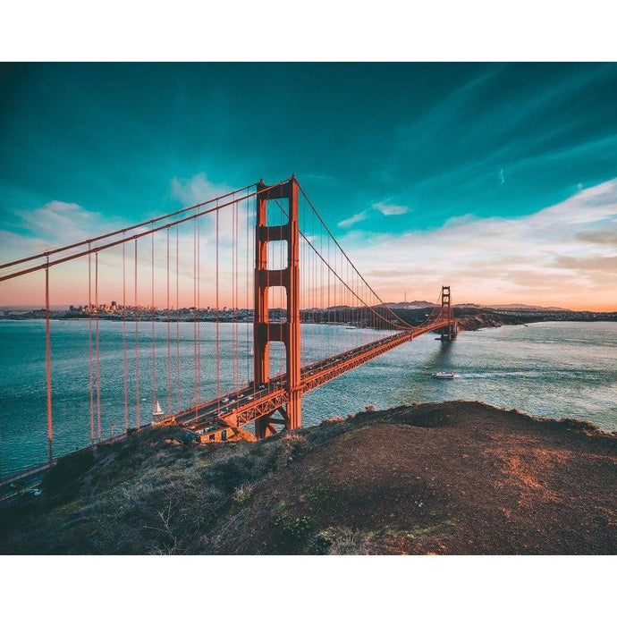 DIY Paint by Number kit for Adults on Canvas-Golden Gate Bridge-Clean PBN
