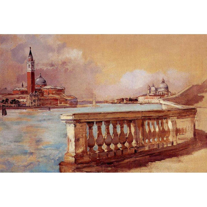 DIY Paint by Number kit for Adults on Canvas-Grand Canal in Venice - Frank Duveneck - 1883-Clean PBN