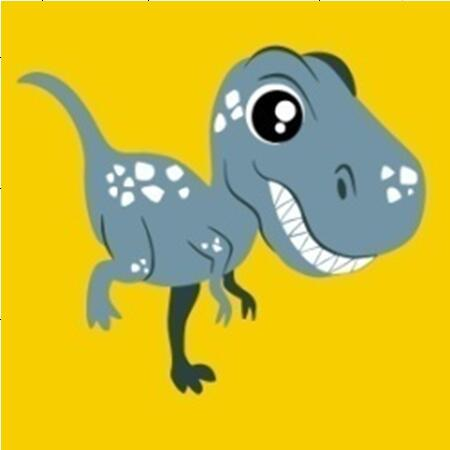 Gray Happy T-Rex Dinosaur - [Tiny Print] - Paint by Numbers Kit