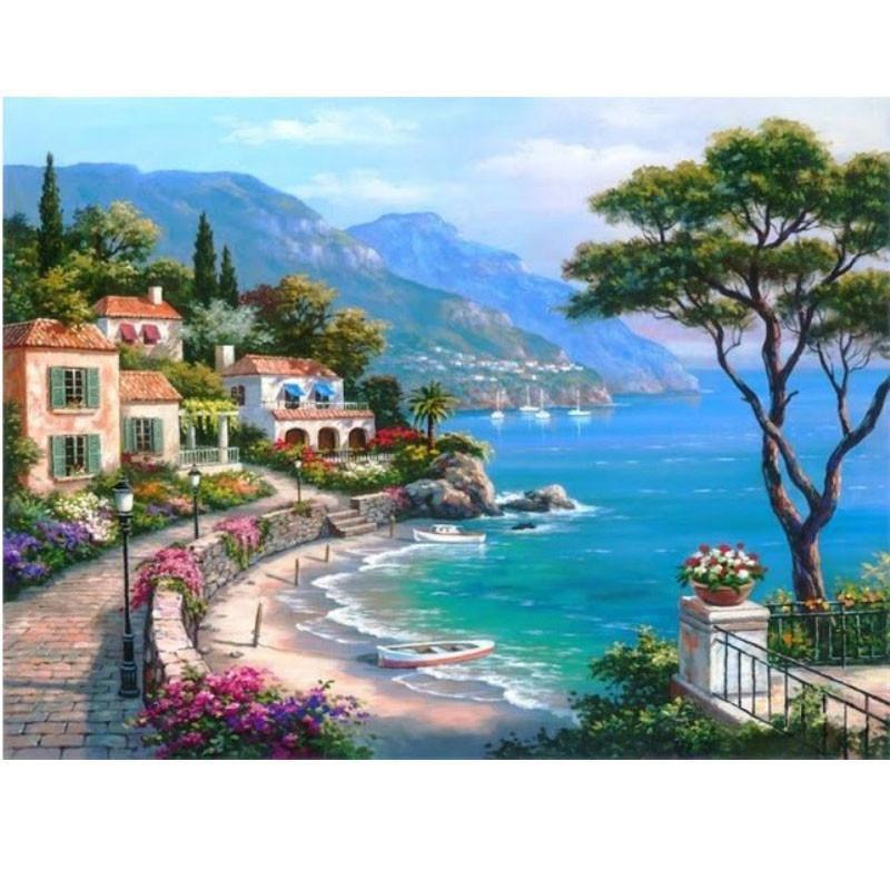 DIY Paint by Number kit for Adults on Canvas-Greek Mediterranean Coastline-40x50cm (16x20inches)