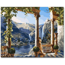 DIY Paint by Number kit for Adults on Canvas-Greek Palace on the River-40x50cm (16x20inches)