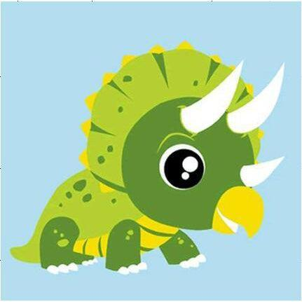 DIY Paint by Number kit for Adults on Canvas-Green Triceratops Dinosaur - [Tiny Print]-20x20cm (8x8inches)