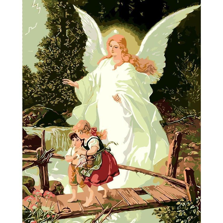 DIY Paint by Number kit for Adults on Canvas-Guardian Angel and Children Crossing Bridge - Hans Zatzka - 1918-Painting & Calligraphy