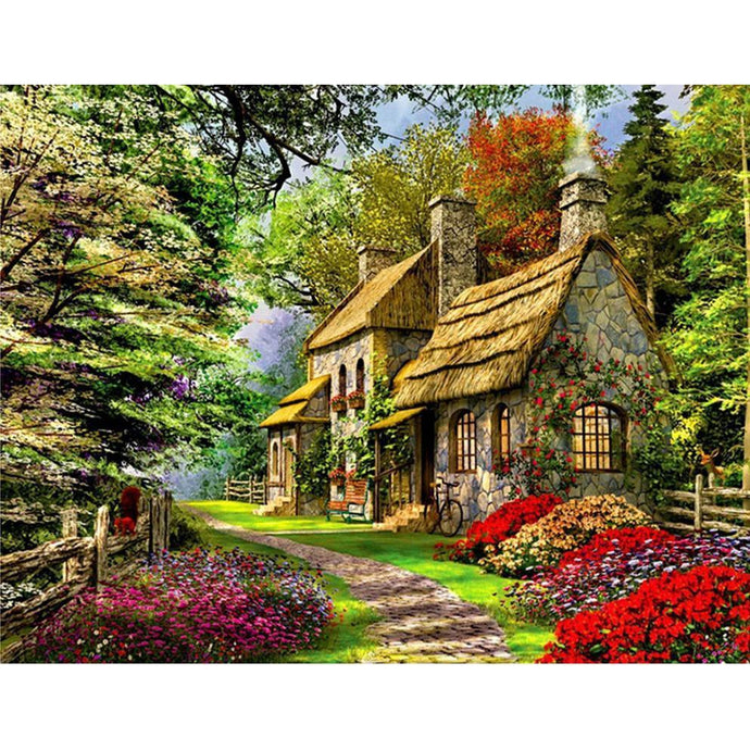 DIY Paint by Number kit for Adults on Canvas-Hanzel & Gretel Cabin-30x40cm (12x16inces)