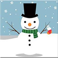 DIY Paint by Number kit for Adults on Canvas-Happy Snow Pal - [Tiny Print]-20x20cm (8x8inches)