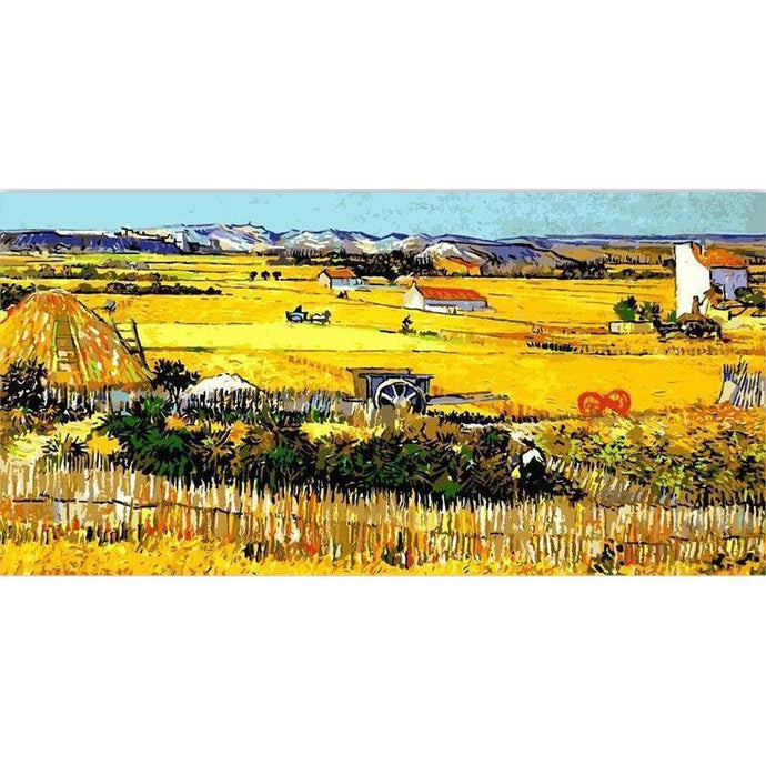 DIY Paint by Number kit for Adults on Canvas-Harvest At Arles - Van Gogh [EXTRA Large Print]-Clean PBN
