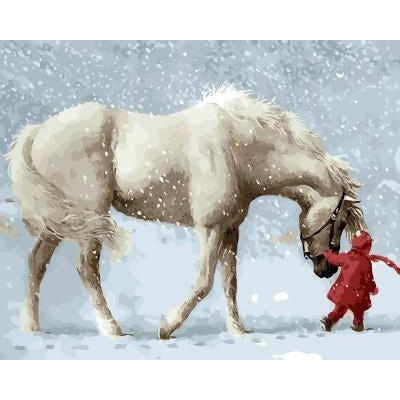DIY Paint by Number kit for Adults on Canvas-Her Snowy White Horse-40x50cm (16x20inches)