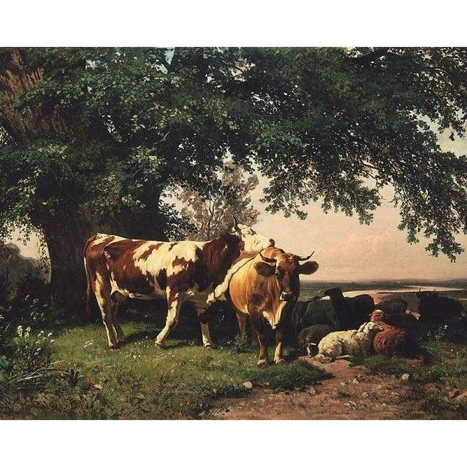 DIY Paint by Number kit for Adults on Canvas-Herd Under the Trees - Ivan Shishkin - 1864-Clean PBN
