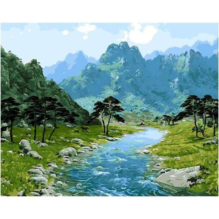 DIY Paint by Number kit for Adults on Canvas-Hidden Valley Stream-40x50cm (16x20inches)