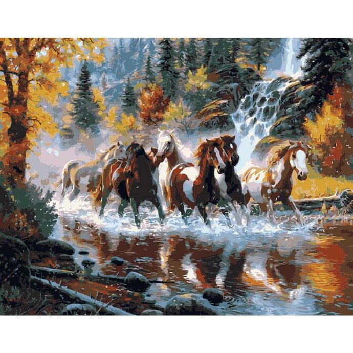 DIY Paint by Number kit for Adults on Canvas-Horses Galloping Downstream-40x50cm (16x20inches)