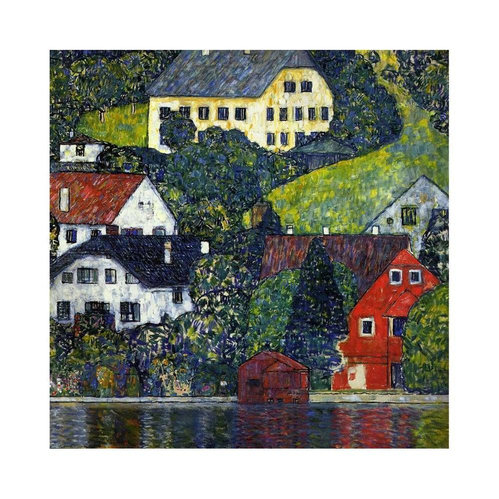 DIY Paint by Number kit for Adults on Canvas-Houses At Unterach on the Attersee - Gustav Klimt - 1916-Paint By Number