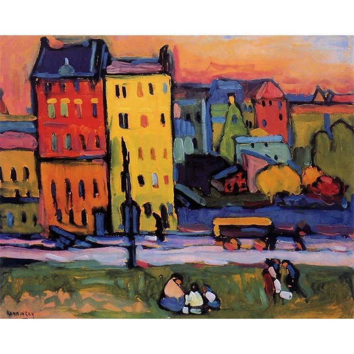 DIY Paint by Number kit for Adults on Canvas-Houses in Munich - Wassily Kandinsky - 1908-Clean PBN