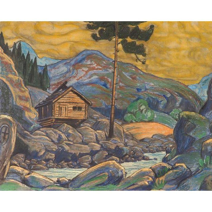 DIY Paint by Number kit for Adults on Canvas-Hut in the Mountains - Nicholas Roerich - 1911-