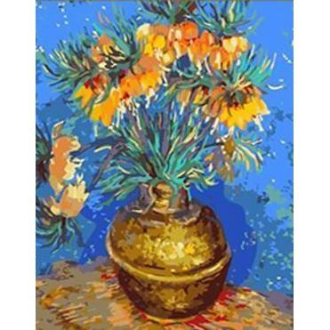 DIY Paint by Number kit for Adults on Canvas-Imperial Fritillaries in a Copper Vase - Van Gogh-Clean PBN